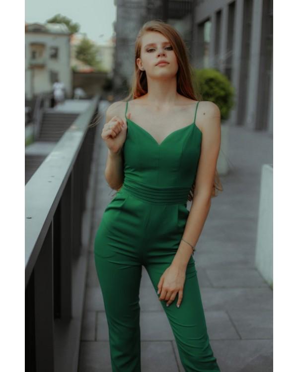 Комінезон зелений святковий на тонких брителях