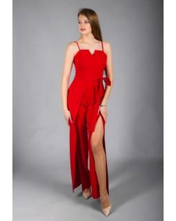 Комбінезон червоний з кльошованими брюками