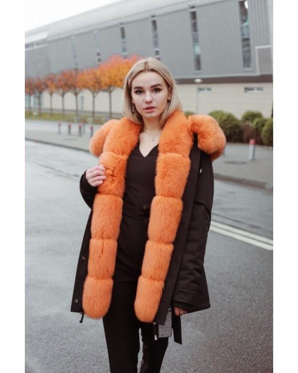 Куртка чорна оздоблена яскравим хутром