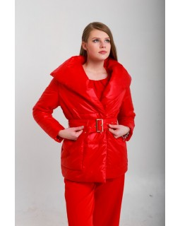 Куртка червона під пояс