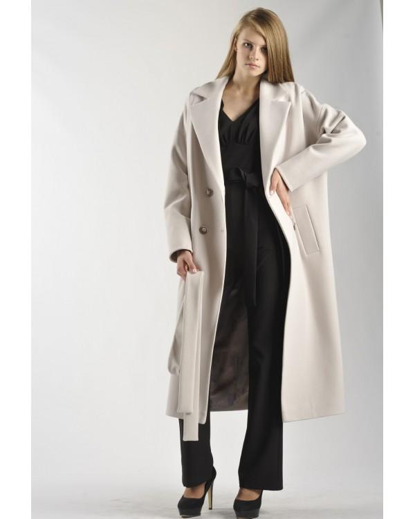 Двубортне бежеве пальто