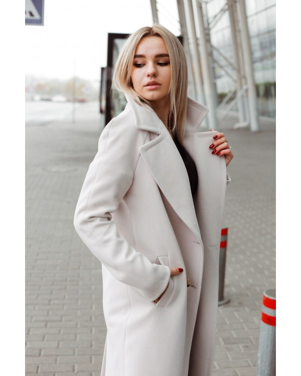 Пальто сіро-бежеве двубортне