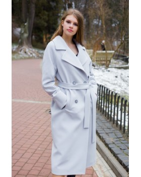 Пальто сіро-голубе двубортне