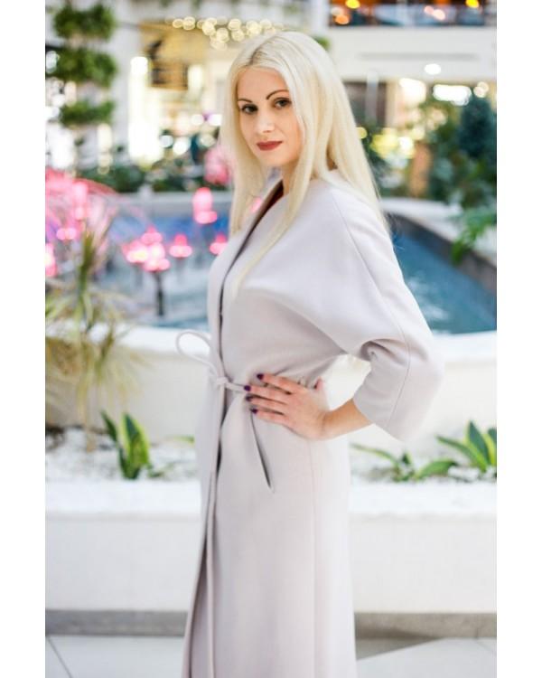 Пальто сіро-бежеве вільний силует