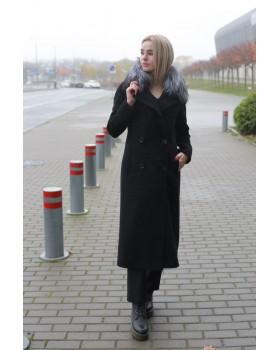 Пальто чорне двубортне з хутром