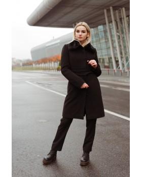 Пальто чорное однобортне в класичному стилі