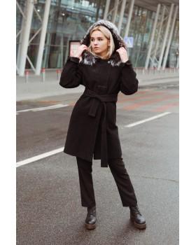 Пальто чорне з капюшоном