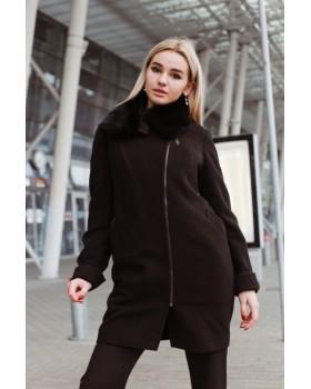 Пальто чорне застібка-замок