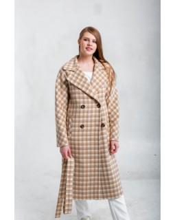 Пальто двубортне в клітку