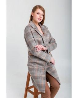 Сіро-коричневе пальто в клітку