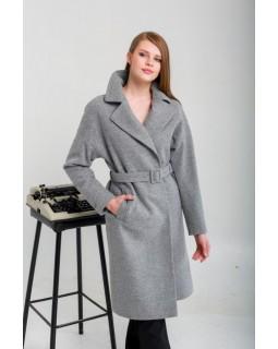 Пальто під пояс сіре