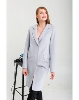 Пальто сіро-голубе класичне