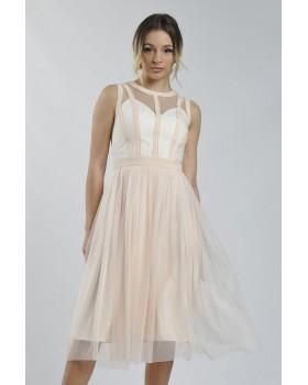 Сукня персикова комбінована
