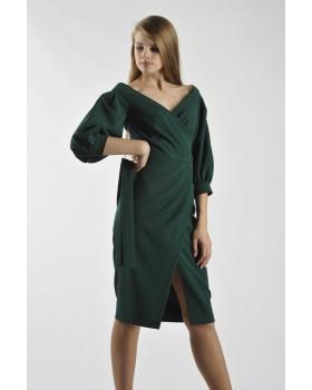 Сукня святкова зелена з глибоким декольте