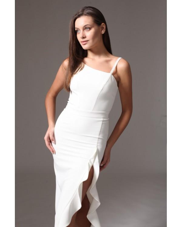 Святкова сукня молочна з розрізом на нозі