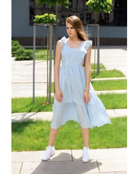 Сукня голуба з широкими бретелями оздобленими воланом