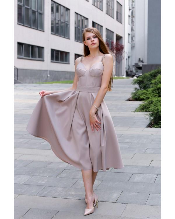Сукня бежева верх імітація корсету