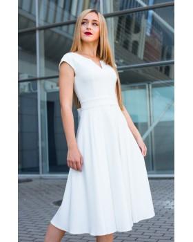 Сукня святкова молочна міді з V-образним вирізом