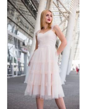 Сукня пудрова декорована сіточкою