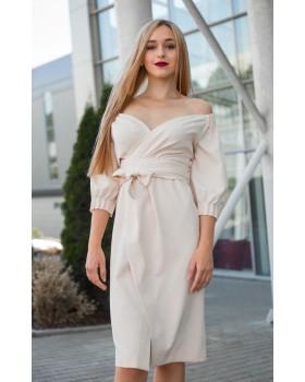 Сукня святкова пудрова з відкритими плечима