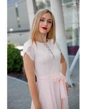 Сукня святкова персикова міді виріз круглий з розпіркою