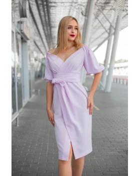 Сукня святкова рожева з відкритими плечима
