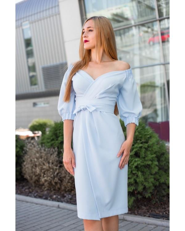 Сукня святкова голуба з відкритими плечима