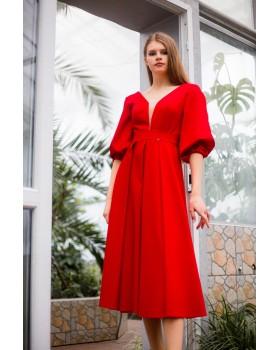 Сукня червона рукави ліхтарики