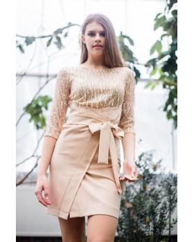 Сукня бежева спідниця на запах
