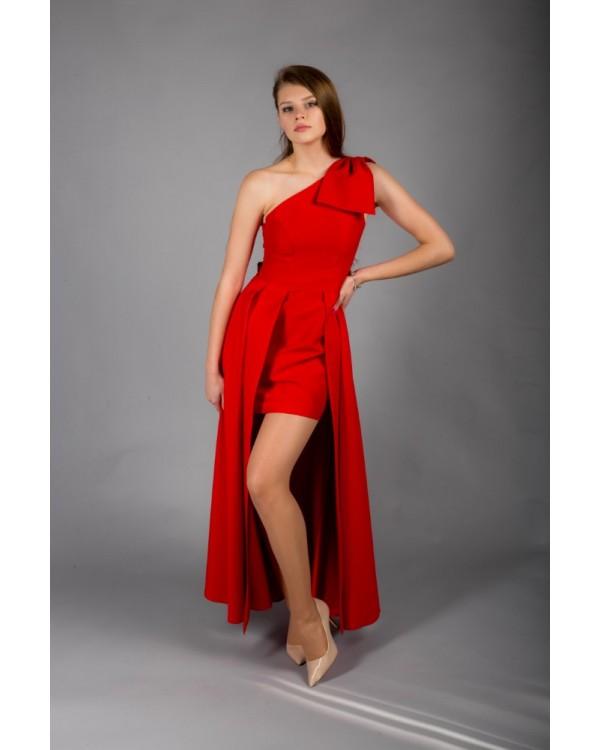 Сукня червона на одне плече