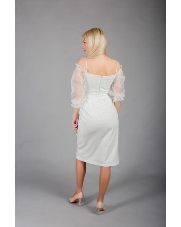 Сукня молочна рукав із сіточки в горошок