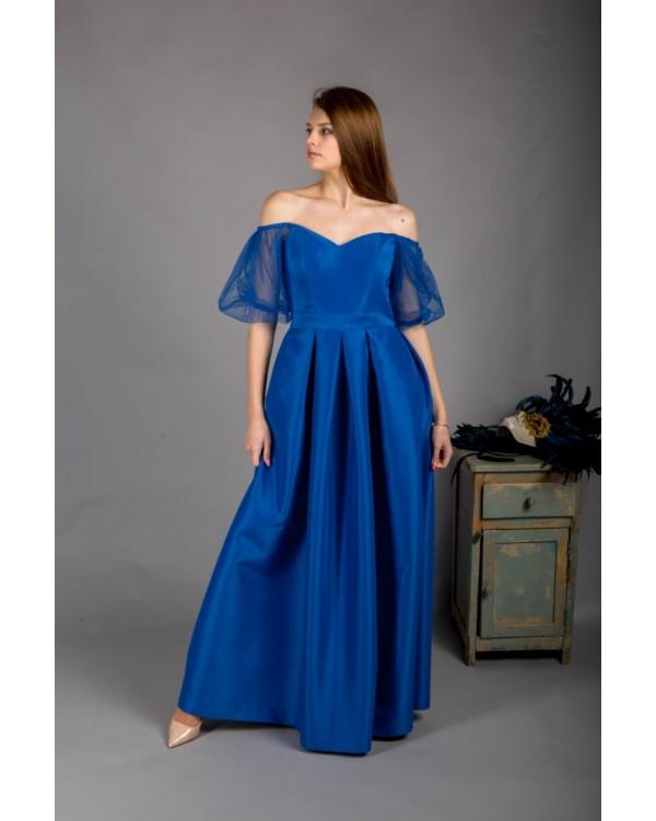 Сукня синя з обємними рукавами