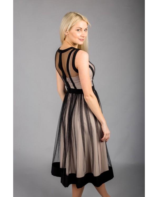 Сукня чорна з комбінованих тканин