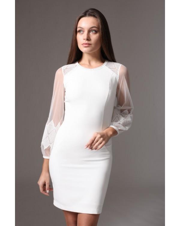 Сукня молочна рукав оздоблений мереживом