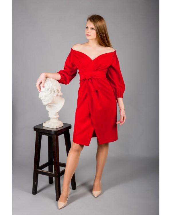 Сукня червона з об'ємними рукавами