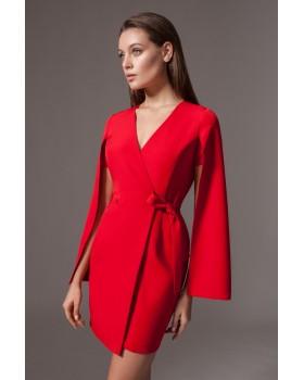 Сукня червона з відлітним рукавом