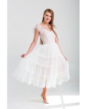 Сукня багатоярусна пудрова