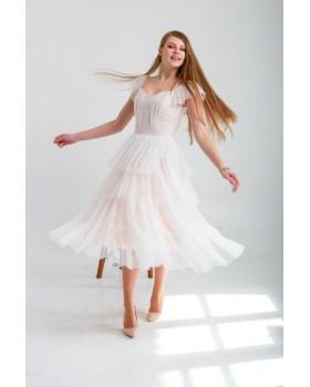 Сукня пудрова виконана із сіточки