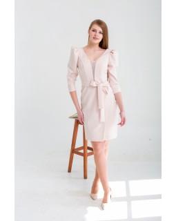 Сукня пудрова з V-образним вирізом