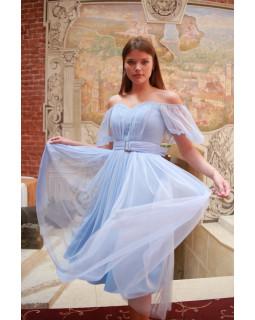 Сукня із сіточки з об'ємним рукавом