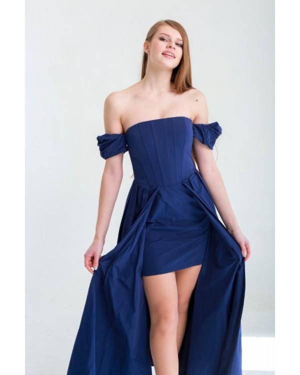 Сукня синя з відкритим декольте