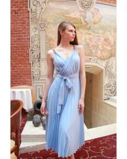 Блакитна сукня міді  зі спідницею гофре